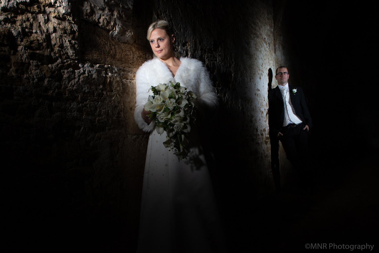 flash photography with bride and groom